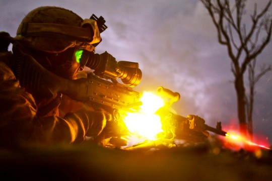 Marines suppress 'enemy fire'