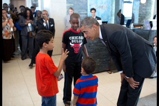 _v1a0121 President Obama with young guests in Dakar, Senegal