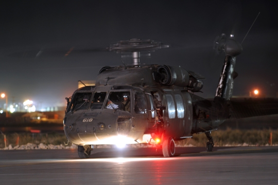 Flight line at night