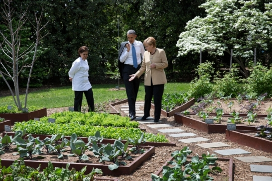 President Barack Obama and Chancellor Angela Merkel of Germany tour the Kitchen Garden with Executive Chef Cris Comerford on the South Grounds of the White House, May 2, 2014. (Official White House Photo by Pete Souza)