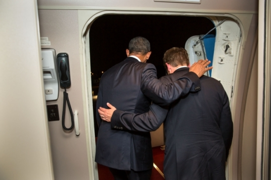 President Barack Obama and Press Secretary Jay Carney disembark from Air Force One upon arrival at Joint Base Andrews, Wednesday night, June 17, 2014. It was Carney's last flight on Air Force One as White House Press Secretary. (Official White House Photo by Pete Souza)