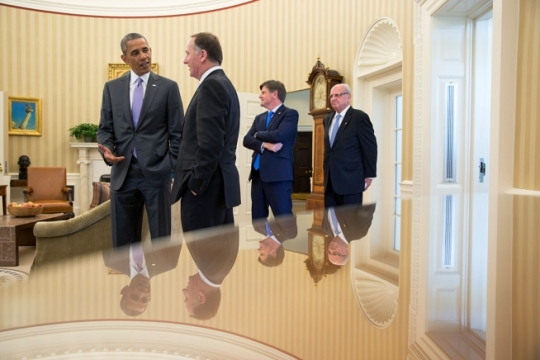 President Barack Obama talks with Prime Minister John Key of New Zealand in the Oval Office, June 20, 2014. (Official White House Photo by Pete Souza)