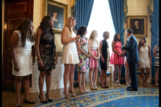President Barack Obama greets the 2014 NCAA Champion University of Connecticut Huskies men's and women's basketball teams and their coaches in the Blue Room prior to an event to honor the teams and their 2014 NCAA Championships in the East Room of the White House, June 9, 2014. (Official White House Photo by Pete Souza)