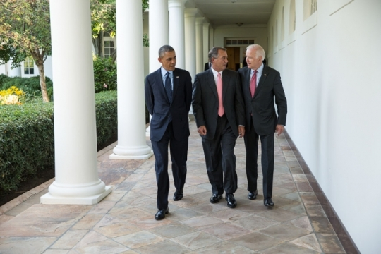President Barack Obama walks with House Speaker John Boehner, R-Ohio, and Vice President Joe Biden on the Colonnade prior to an event for the 2013 President's Cup championship teams in the East Room of the White House, June 24, 2014. (Official White House Photo by Pete Souza)