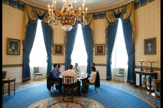 President Barack Obama hosts Education Secretary Arne Duncan and a group of teachers for lunch in the Blue Room of the White House, July 7, 2014, to discuss efforts to ensure that every student is taught by an effective educator. (Official White House Photo by Pete Souza)