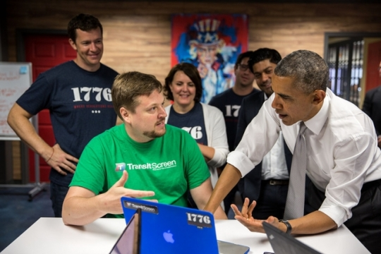 President Barack Obama talks with tech innovators and employees during a tour of 1776, a tech startup hub in Washington, D.C., July 3, 2014. (Official White House Photo by Pete Souza)