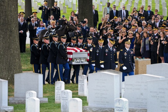 An Army Honor Guard carries the casket of U.S. Army Maj. Gen. Harold J. Greene during his funeral service at Arlington National Cemetery in Arlington, Va., Aug. 14, 2014. Greene is the highest-ranking U.S. military officer to be killed in combat since Vietnam. (U.S. Army photo by Gregory L. Jones/Released)