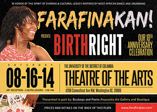 To take place in Washington, DC on Saturday, August 16, 2014 at the University of the District of Columbia's Theatre of the Arts.