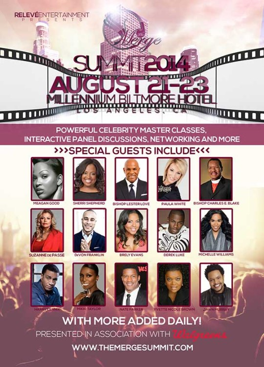 The weekend long program features top entertainers and industry executives including: Meagan Good, DeVon Franklin, Common, Michelle Williams, Sherri Shepherd, Terrence Jenkins, Pastor Paula White, Erica Campbell, Derek Luke, Sophia Luke, Clint Culpepper, Bishop Charles E. Blake, Mikki Taylor, Nate Parker, Yvette Nicole Brown, Jonathan Butler, Suzanne de Passe, Fonzworth Bentley, Harry J. Lennix, Mali Music, Bishop Lester Love, among others