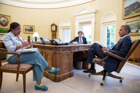 President Barack Obama meets with National Security Advisor Susan E. Rice and Tony Blinken, Deputy National Security Advisor, in the Oval Office, Aug. 1, 2014. (Official White House Photo by Pete Souza)