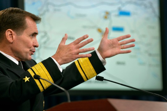 Pentagon Press Secretary Rear Adm. John Kirby holds a press conference in the Press Briefing Room at the Pentagon, Sept. 25, 2014. Kirby showed slides and videos highlighting U.S. airstrikes on ISIS targets in Syria and answered questions from reporters. DoD Photo by Glenn Fawcett (Released)