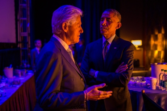 President Barack Obama talks with former President Bill Clinton prior to being introduced at the Clinton Global Initiative in New York, N.Y., Sept. 23, 2014. (Official White House Photo by Pete Souza)