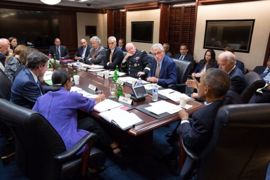 President Barack Obama and Vice President Joe Biden meet with bicameral leadership of Congress regarding foreign policy, in the Oval Office, Sept. 9, 2014. Participants include: Senate Majority Leader Harry Reid, D-Nev., Senate Minority Leader Mitch McConnell, R-Ky., House Speaker John Boehner, R-Ohio and Democratic Minority Leader Nancy Pelosi, D-Calif. (Official White House Photo by Pete Souza)