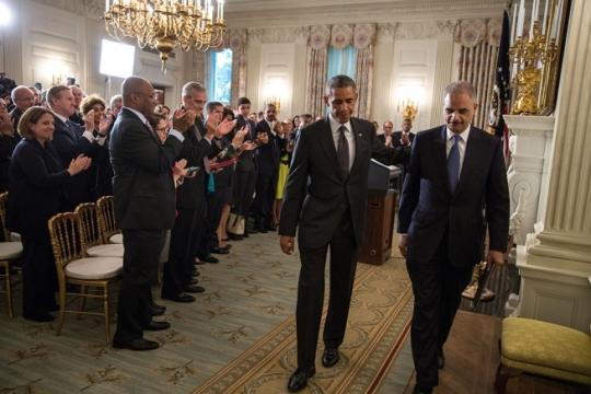 President Obama at Holder's Resignation Announcement