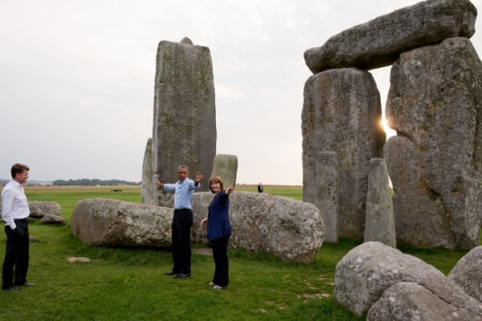 President Barack Obama takes a guided tour of Stonehenge with Heather Sebire, property curator, in Wiltshire, England, Sept. 5, 2014. (Official White House Photo by Pete Souza)