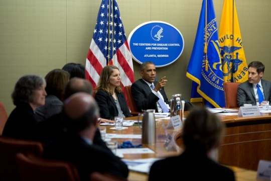 President Barack Obama convenes briefing on the Ebola virus at the Centers for Disease Control and Prevention in Atlanta, Ga., Sept. 16, 2014. (Official White House Photo by Pete Souza)