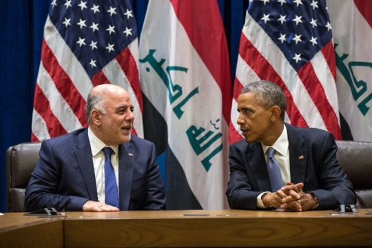 President Barack Obama and Prime Minister Haider al-Abadi of Iraq hold a bilateral meeting at the United Nations in New York, N.Y., Sept. 24, 2014. (Official White House Photo by Pete Souza)