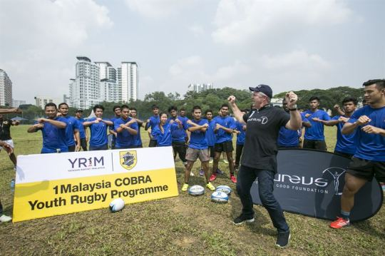 All Blacks Legend Sean Fitzpatrick Leads Laureus Academy Members at Launch of Cobra Rugby Project in Kuala Lumpur, Malaysia.  Photo Courtesy:  Laureus