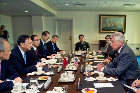Secretary of Defense Chuck Hagel meets with People's Republic of China State Counselor Yang Jaechi at the Pentagon in Washington D.C., to discuss matters of mutual importance Oct. 20, 2014, 2014. (DoD Photo by Master Sgt. Adrian Cadiz)(Released)