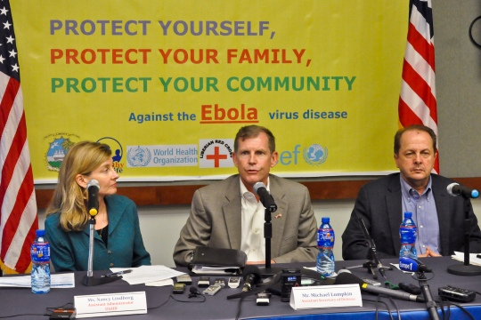 Michael Lumpkin, center, the U.S. assistant secretary of defense for special operations and low-intensity conflict, Nancy A. Lindborg, the assistant administrator for the U.S. Agency for International Development, and Dr. Thomas Kenyon, the Centers for Disease Control and Prevention's director for Global Health, discuss their efforts to see the impact of the Ebola epidemic in Liberia during a briefing at the U.S. Embassy in Monrovia, Liberia, Oct. 1, 2014.