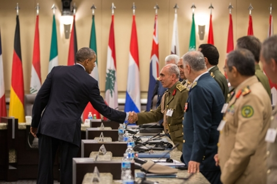 President Barack Obama bids farewell to Iraqi Army General Babakir Zebari after a meeting at Joint Base Andrews, Md., with more than 20 foreign chiefs of defense to discuss the coalition efforts in the ongoing campaign against ISIL, Oct. 14, 2014. (Official White House Photo by Pete Souza)