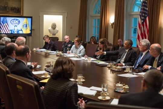 President Barack Obama convenes a meeting with cabinet agencies coordinating the government's Ebola response, in the Cabinet Room of the White House, Oct.15, 2014. (Official White House Photo by Pete Souza)
