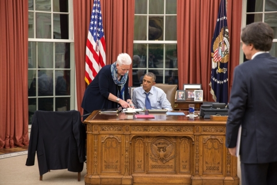 President Barack Obama talks with Gayle Smith, Special Assistant and Senior Director for Development and Democracy as Deputy National Security Advisor Tony Blinken looks on in the Oval Office, Oct. 21, 2014. (Official White House Photo by Pete Souza)