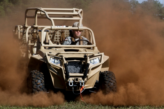 A paratrooper assigned to the 1st Battalion, 325th Airborne Infantry Regiment, 2nd Brigade Combat Team, 82nd Airborne Division, drives the Brigade's new Light Tactical All Terrain Vehicle on Fort Bragg, N.C., Oct. 29, 2014. The 1st Battalion, 325th AIR will be the first battalion to exercise and assess the added capabilities of the new LTATVs by incorporating them into scheduled training events, culminating in the Division's Joint Operational Access Exercise 15-01 in April next year. (82nd Airborne Division photo by Staff Sgt. Jason Hull/Released)