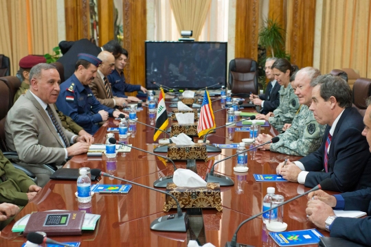 Shawkat B. Zebari meets with U.S. Chairman of the Joint Chiefs of Staff, Army Gen. Martin E. Dempsey at the Ministry of Defense in Baghdad, Iraq, Nov. 15, 2014.  Dempsey visited Erbil to discuss the progress and achievements of Iraqi Security Forces and the U.S.-led coalition in the fight against ISIL. (DOD photo by D. Myles Cullen/Released)