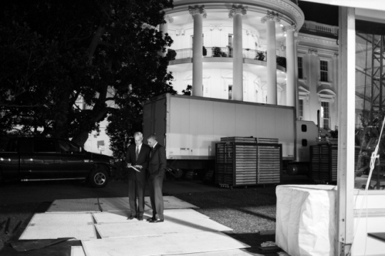 President Barack Obama talks with Chief of Staff Denis McDonough on the South Drive of the White House, Nov. 3, 2014. (Official White House Photo by Pete Souza)