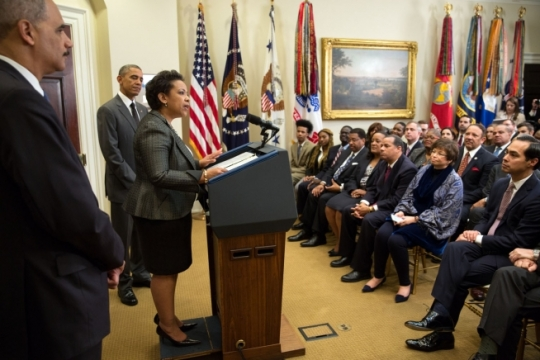 President Barack Obama announces his nominee for Attorney General, Loretta E. Lynch, to succeed Eric Holder, in the Roosevelt Room of the White House, Saturday, Nov. 8, 2014. (Official White House Photo by Pete Souza)
