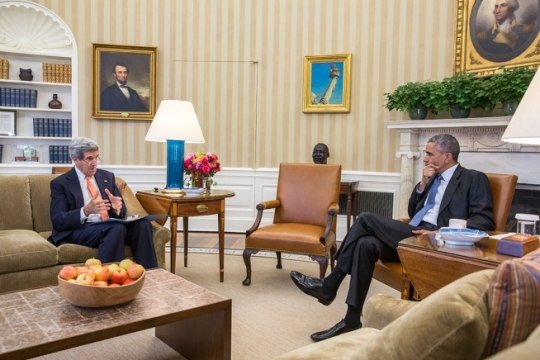 President Barack Obama meets with Secretary of State John Kerry in the Oval Office, Oct. 30, 2014. (Official White House Photo by Chuck Kennedy)