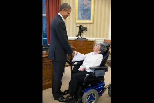 President Barack Obama greets 107-year-old Alyce Dixon, the oldest living female African American World War II veteran, in the Oval Office, Oct. 27, 2014. (Official White House Photo by Pete Souza)