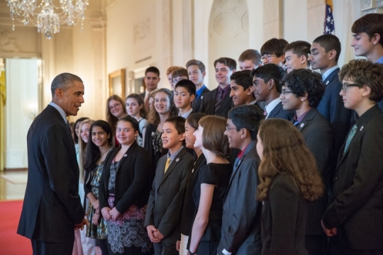 President Barack Obama greets 2014 Broadcom MASTERS (Math, Applied Science, Technology and Engineering Rising Stars) finalists in the Cross Hall of the White House, Oct. 28, 2014. (Official White House Photo by Pete Souza)