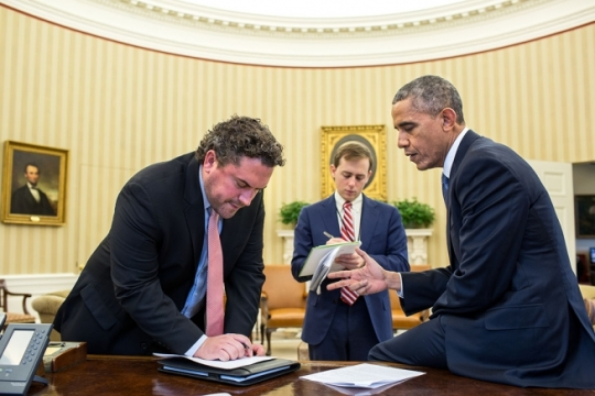 President Barack Obama works on his immigration speech with Director of Speechwriting Cody Keenan and Senior Presidential Speechwriter David Litt in the Oval Office, Nov. 19, 2014. (Official White House Photo by Pete Souza)