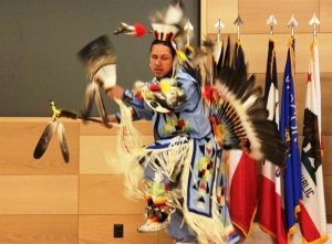 William Jones performs a Piscataway Indian Nation dance during the National Native American Heritage Month ceremony at Aberdeen Proving Ground, Md., Nov. 13, 2014. U.S. Army photo by Walter T. Ham IV