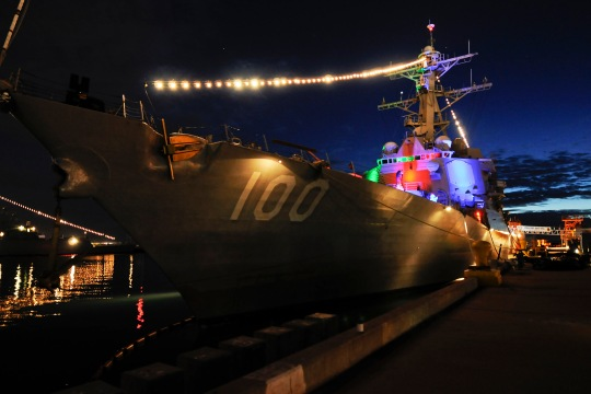 141219-N-LR795-042  SAN DIEGO (Dec. 19, 2014) The guided-missile destroyer USS Kidd (DDG 100) displays its lights during Naval Base San Diego's third annual Holiday Lights Open House. During the event, the public was invited to drive through and observe the decorated ships along the base's waterfront. (U.S. Navy photo by Mass Communication Specialist Seaman Amanda Chavez/Released)