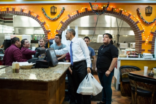 President Barack Obama makes a local stop for carry out at La Hacienda, Authentic Mexican Food, in Nashville, Tenn., Dec. 9, 2014. (Official White House Photo by Pete Souza)
