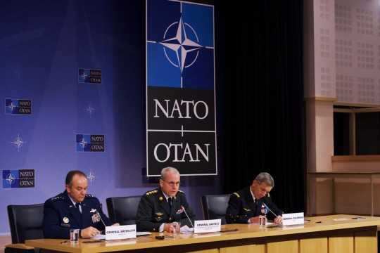 General Philip Breedlove (Supreme Allied Commander, Europe), General Knud Bartels (Chairman of the NATO Military Committee) and General Jean-Paul Palomeros (Supreme Allied Commander, Transformation)