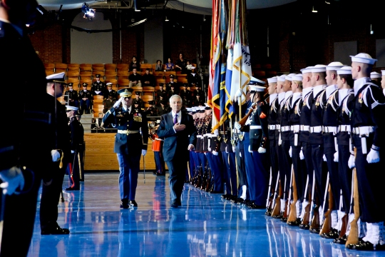 U.S. Secretary of Defense Chuck Hagel and the commander of the 3rd U.S. Infantry Regiment (The Old Guard), Col. Johnny Davis, render honors during Hagel's farewell tribute at Conmy Hall on Joint Base Myer-Henderson Hall in Arlington, Va., Jan. 28, 2015. (U.S. Army photo by Staff Sgt. Laura Buchta/Released)