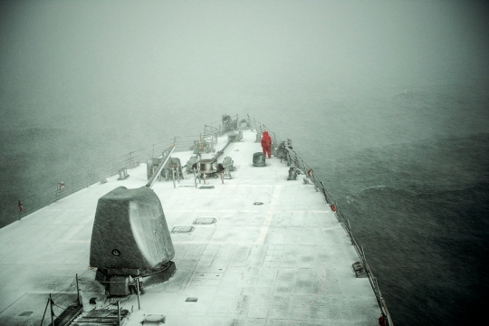 USS Donald Cook (DDG 75) transits the Black Sea, Jan. 7, 2015. Donald Cook, an Arleigh Burke-class guided-missile destroyer, forward-deployed to Rota, Spain, is conducting naval operations in the U.S. 6th Fleet area of operations in support of U.S. national security interests in Europe. (U.S. Navy photo by Mass Communication Specialist 2nd Class Karolina A. Oseguera/Released)