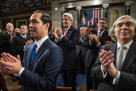 Housing and Urban Development Secretary Julian Castro, Secretary of State John Kerry, Treasury Secretary Jack Lew, and Energy Secretary Earnest Moniz applaud as President Barack Obama enters the House Chamber prior to, delivering the State of the Union address in the Capitol in Washington, D.C., Jan. 20, 2015. (Official White House Photo by Pete Souza)