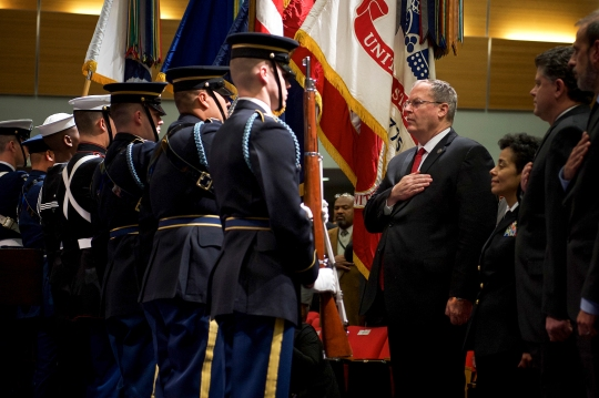 Deputy Defense Secretary Bob Work attends the annual Martin Luther King Jr. observance at the Pentagon, Jan. 15, 2014.