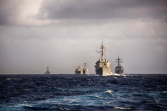 150112-N-TX848-004 ATLANTIC OCEAN (Jan. 12, 2015) Ships assigned to the Theodore Roosevelt Carrier Strike Group conduct a composite training unit exercise (COMPTUEX) in preparation for an upcoming deployment. (U.S. Navy photo by Senior Chief Culinary Specialist  Rodney Davidson/Released)