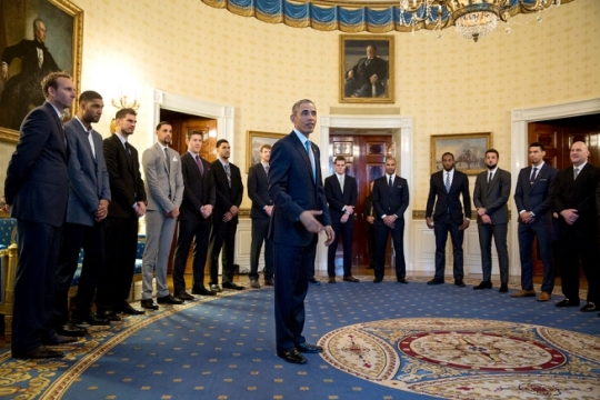 President Barack Obama greets 2014 NBA Championship San Antonio Spurs players, coaches and leadership in the Blue Room prior to an event in the East Room, Jan. 12, 2015. (Official White House Photo by Pete Souza)