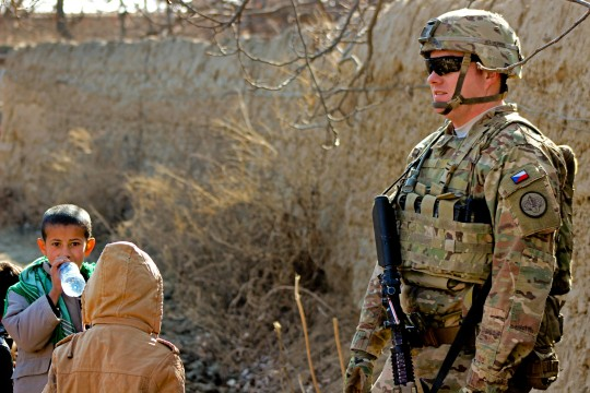 U.S. Army Staff Sgt. Douglas Edmiston provides security during a shura near Bagram Airfield, Afghanistan, Jan. 17, 2015. Edmiston is assigned to 2nd Squadron, 3rd Cavalry Regiment.