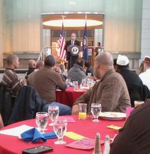 Congressman Yarmuth Speaking to Veterans during 9th Annual African-American Dialogue.  Photo Courtesy:  beenetworknews.com