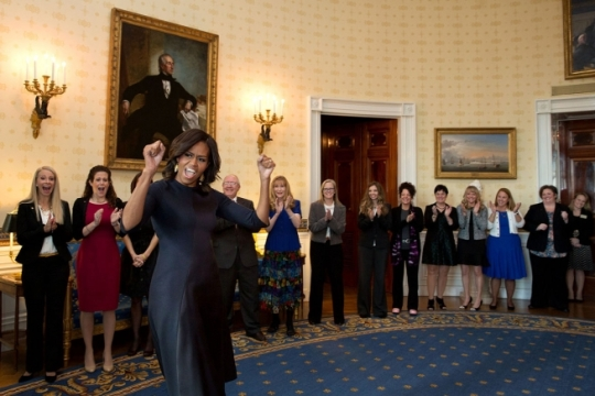 First Lady Michelle Obama greets Counselor of the Year semi-finalists and finalists in the Blue Room prior to an event honoring them in the East Room of the White House, Jan. 30, 2015. (Official White House Photo by Amanda Lucidon)