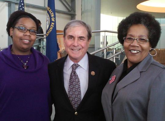Congressman John Yarmuth (center) shares a moment with constituents Tanyeka Holt-Percentie (left) and Brenda Griggs (right).