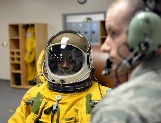Tengesdal is the 9th Reconnaissance Wing inspector general and a U-2 pilot. McNeely is a 9th Physiological Support Squadron aerospace physiology technician. (U.S. Air Force photo/Senior Airman Bobby Cummings)
